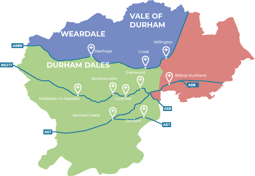 A map of the 3 Primary Care Networks in Durham Dales