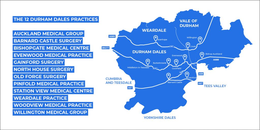 The 12 Durham Dales Practices: Auckland Medical Group, Barnard Castle Surgery, Bishopgate Medical Centre, Evenwood Medical Practice, Gainford surgery, North House Surgery, Old Forge Surgery, Pinfold Medical Practice, Station View Medical Centre, Weardale Practice, Woodview Medical Practice, Willington Medical Group
